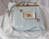 Pale blue handbag, Something Blue Bridal Bag, Vintage porcelain adorned Wedding Purse