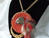 Stone Fish Statement Pendant, Haute Couture vintage change purse statement necklace, Retro, avant garde pendant