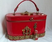 Retro Red Purse, Makeup case, couture carryall, Victorian keepsake case, OOAK handbag by La Marelle Couture, LAYAWAY PLANS
