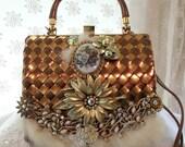 Metallic Copper Purse, Vintage leather woven handbag, Elegant formal haute couture purse, LAYAWAY PLANS