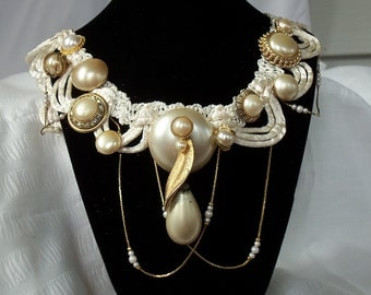 Elegant formal choker, Pearl wedding necklace, Beaded chain bib, Ivory and white silk neck piece, beaded swags.