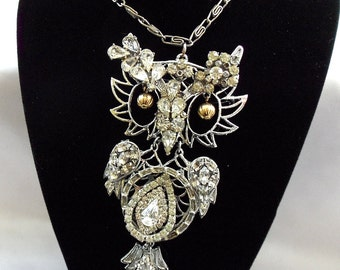 Owl Necklace Rhinestones, Large owl charm, clear diamond like vintage rhinestones, One of a kind, womans necklace