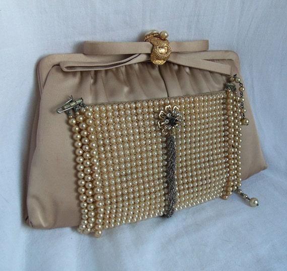 Champagne Bridal Purse Pearl Beading Haute By Hopscotchcouture