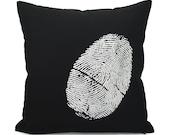 16x16 Black Throw Pillow Cover with White Fingerprint, Thumbprint For Him | Industrial Home Decor | Black & White Decorative Pillow Case