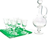 Etched clear glass decanter and set of six (6) matching glasses