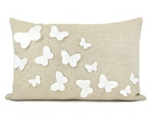 12x18 butterfly pillow cover in natural beige and white - Growing butterflies pillow case - White felt butterflies accent cushion