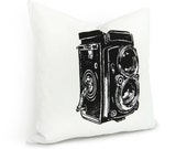 Camera pillow cover - Black antique camera print on white cotton canvas pillow case - 16x16 decorative pillow cover - ClassicByNature