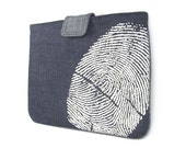 IPad case - White fingerprint print on navy blue denim and contrasting accents for iPad 2 and 3 - Urban padded iPad sleeve