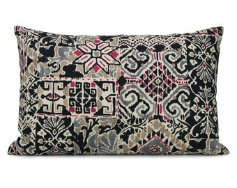 SALE - 12x18 lumbar ikat pillow case, cushion cover / Ethnic, southwestern, tribal home decor / Magenta, gray, black, taupe accent