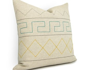 16x16 inches Aztec Geometric Pillow Case | Emerald Green, Yellow, Grey, Black & Natural Beige | Modern Decorative Throw Cushion cover