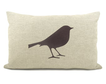 Decorative Bird Pillow Case, Cushion Cover in Dark Brown, Beige and Houndstooth Accent   12x18 Lumbar size   Woodland & Rustic Home Decor