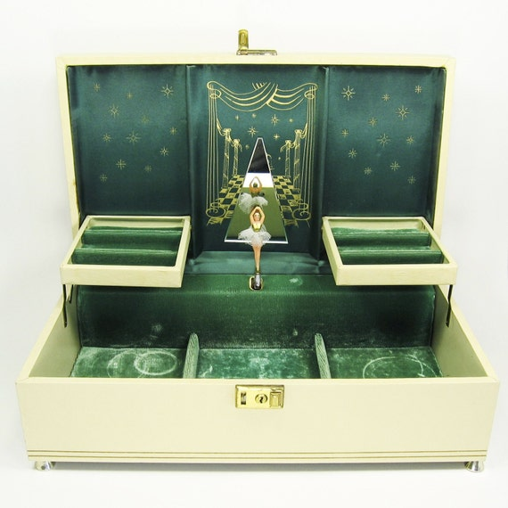 Vintage cream and antique gold ballerina musical jewelry box for Cheap gold jewelry near me