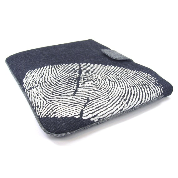 Thumbprint IPad Case | White and Navy Blue Denim Padded IPad Sleeve | For IPad 1, IPad 2 & 3 With or Without Smart Cover | Modern Soft Case