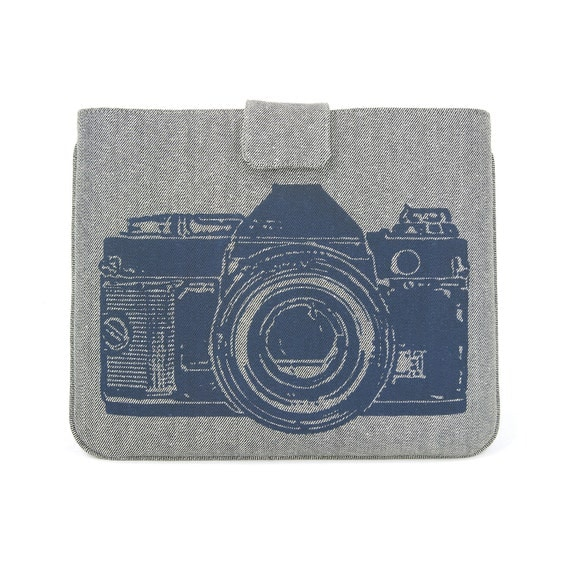 IPad case - Navy blue vintage camera print on gray twill denim look for iPad 2 and 3 - Urban padded Ipad sleeve