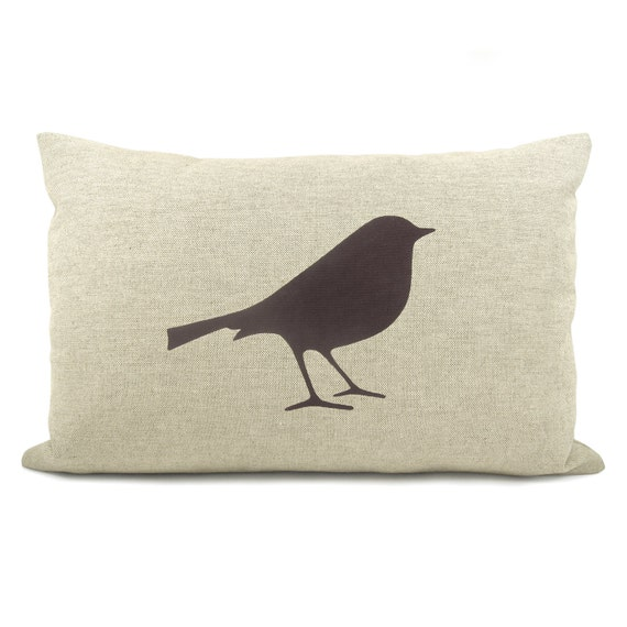 Decorative Bird Pillow Case, Cushion Cover in Dark Brown, Beige and Houndstooth Accent | 12x18 Lumbar size | Woodland & Rustic Home Decor