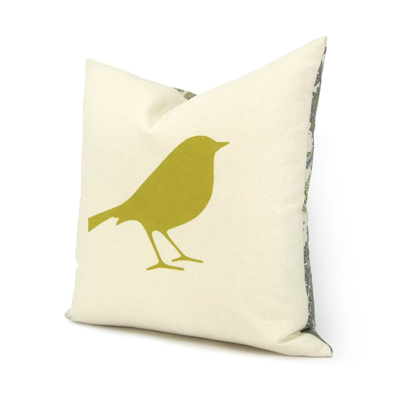 RESERVED | Bird pillow cover | 16x16 Decorative throw pillow case | Sparrow bird print & paisley accent in citrine, grey, aqua and cream