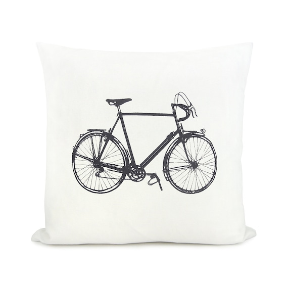 Personalized pillow case with vintage bicycle print - 16x16 or 12x18 inches decorative pillow cover - Your choice of print color and fabric