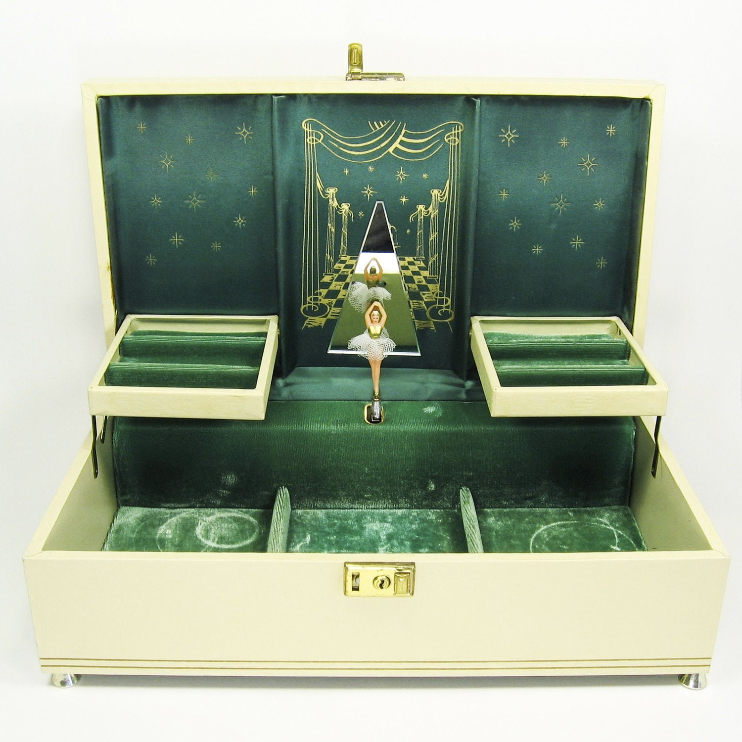Vintage Cream And Antique Gold Ballerina Musical Jewelry Box