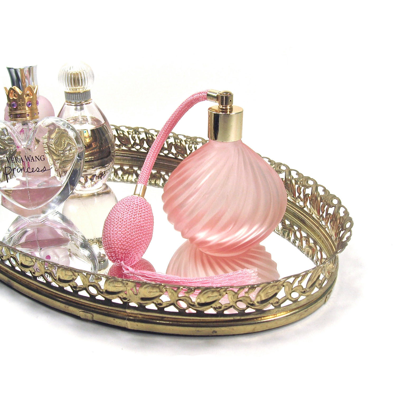 Fragrances Perfume Bottle And Perfume Bottles: Vintage Pink Glass And Gold Perfume Bottle With Atomizer