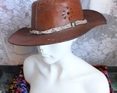 SALE - Rad 1970's Rustic Brown Unisex Whipstitch Handmade Cut Out Leather Outback Hat
