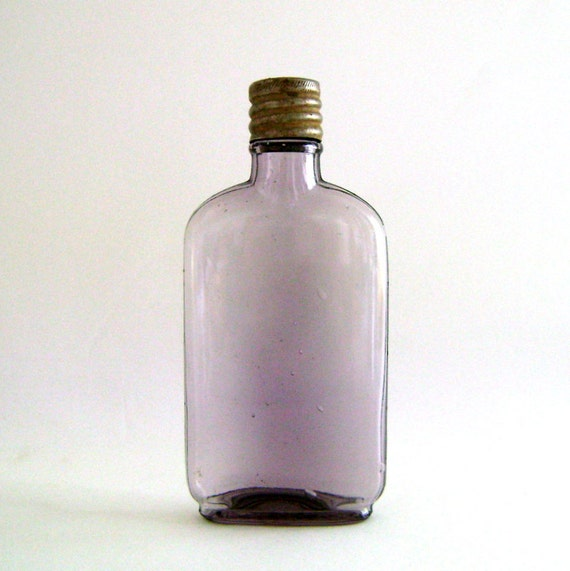 Vintage Glass Flask / Amethyst Glass Bottle