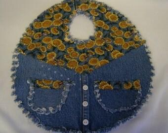 FOOD BIB DENIM Baby Repurposed Blue Jean Sunflowers
