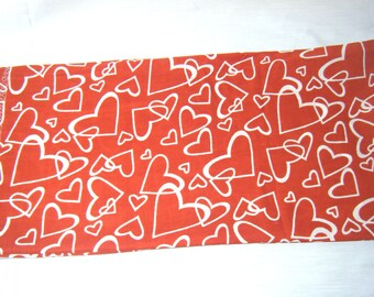 CORN SACK Therapeutic Hot Cold Bag White Hearts on Red