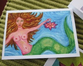 The Mermaid & the Lotus - Greeting Card- original art print