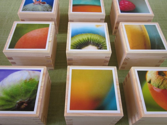 Series of 9 Kitchen Abstract Photographs on Wood Sake Boxes - Guava, Mango, Raspberry, Apricot, Kiwi, Banana, Fig, Mango 2 & Persimmon