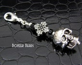 Zipper Pull Skull & Cross Charm Hand Crafted