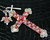 Cross Necklace Red & Pink Crystals Celtic Beaded Chunky Cross