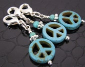 Turquoise Peace Sign Zipper Pull or Charms SET OF THREE Hand Crafted