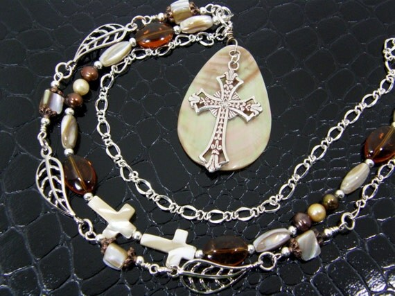 Spiritual Solid Sterling Silver Cross Necklace on Shell Pendant Hand Crafted