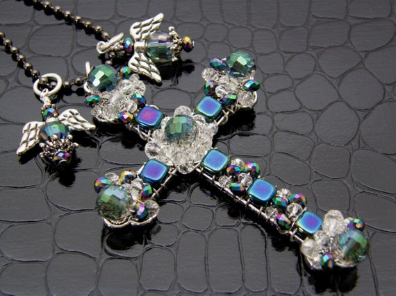 Beaded Cross Necklace with Angel Charms, Large & Chunky Crystal Blue Spiritual Hand Crafted
