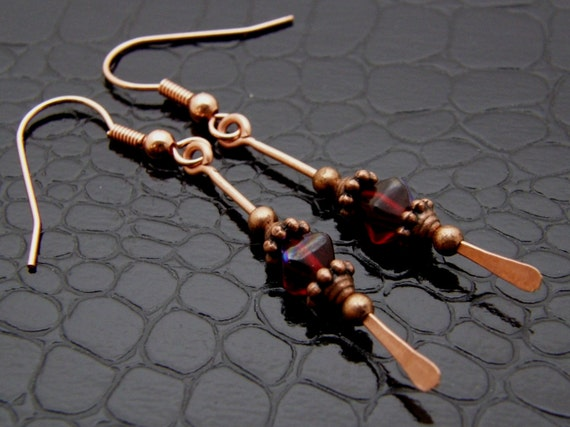 Copper Earrings Womens Copper Paddle Beaded Red Earrings Hand Crafted