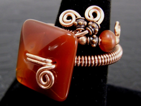 Square Carnelian and Copper Wire Ring Hand Crafted