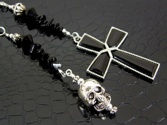 Skull and Cross Bookmark in Black Hand Crafted