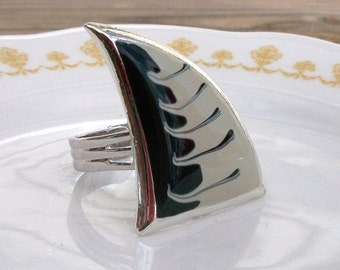 SALE Silver Sail Away Upcycled Vintage Ring