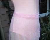 All Stretch Short Wrap Skirt for Dancers in Ballet Pink Mesh Fabric w/ Silver Sparkle