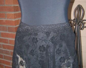 All Stretch Short Wrap Skirt for Dancers in Black Flocked Floral Pattern