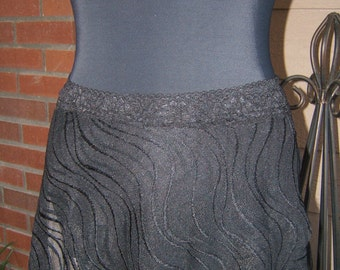 Ballet Dance Wrap Skirt in Black Wavy Pattern