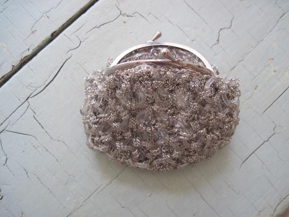 Vintage Silver Crochet Change Purse