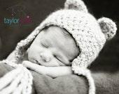Newborn Bear Beanie Photoprop - Cream