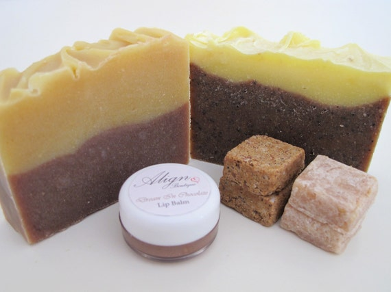 Cake and Coffee Gift Set: Two Soaps, Four Sugar Scrub Cubes and a Lip Balm made with Luxury Oils
