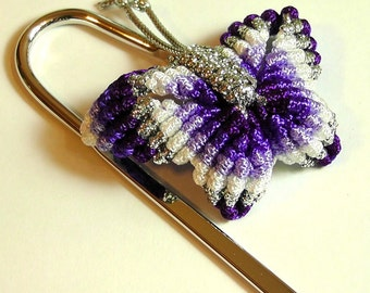 Chinese Knot Butterfly Bookmark - Rainbow Purple