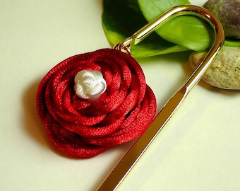Chinese Knot Red Rose Bookmark