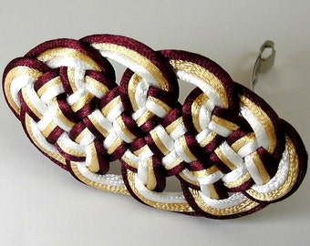 Chinese Knot Barrette (Plum Blossom Knot), maroon, golden and white