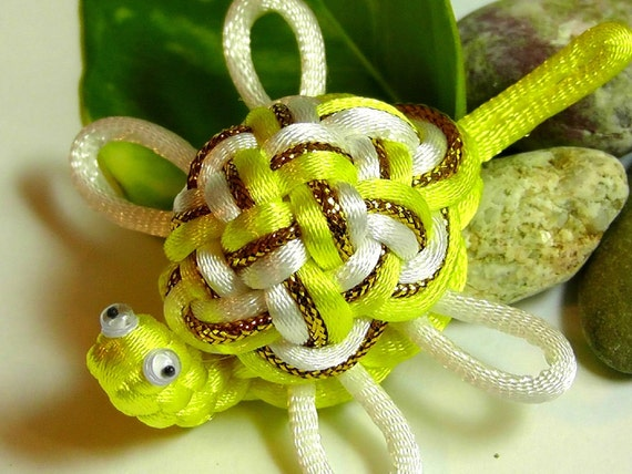 Chinese Knot Sea Turtle - Yellow and White - as Keychain, Phone Charm, Bag Hang or Table Decoration
