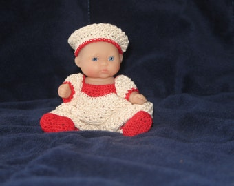 """Crocheted Wine & Roses 5"""" doll outfit"""