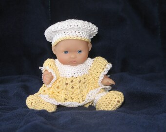 "Crochet Lucy's Going to Meeting Dress Ensemble for 5"" dolls"
